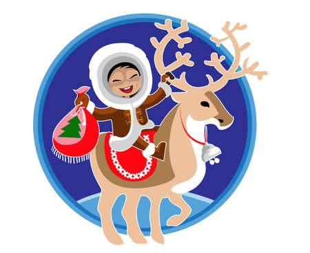 Eskimo girl rides a reindeer and holding a  Christmas gift