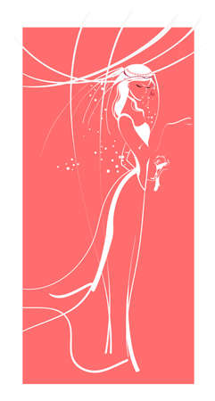Silhouette of a graceful girl in a wedding  dress on a pink background Illustration