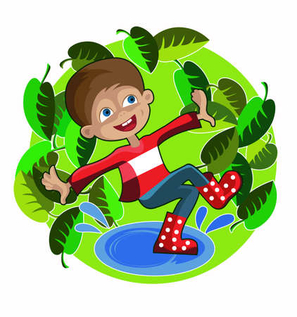 cheerful boy in red rubber boots jumping  in puddles