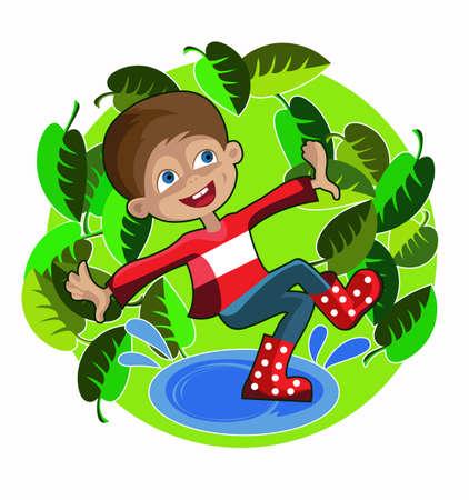 baile caricatura: muchacho alegre con botas de goma roja saltando en los charcos Vectores