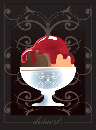 Illustration of Ice cream scoops with  sweet syrup