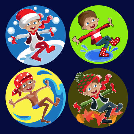 Four funny image of active boys,  symbolizing seasons