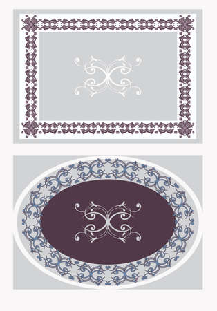 set of two vintage ornamental decorative  frames Illustration