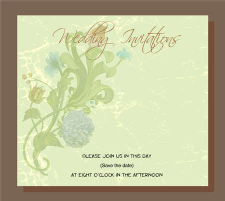 wedding invitation, decorated with vintage chrysanthemum flowers and acanthus leaves