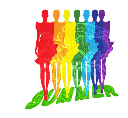 Symbolic picture showing a collection of  summer clothing patterns Illustration