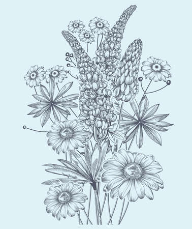 Vector monochrome image of bouquet wildflowers in vintage style