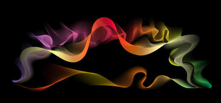background abstraction: Vector abstract color spiral on a black background Illustration