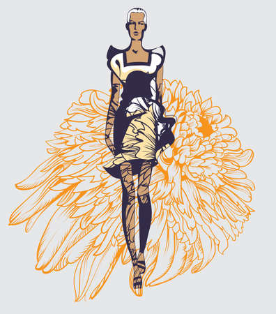 calendula: Abstract sketch of a model in floral  dresses with a calendula print Illustration