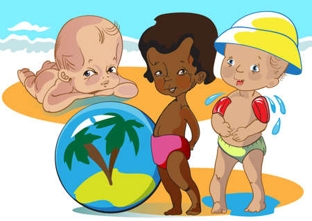 black kid playing on a sea beach with  their little friends Illustration
