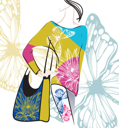 vector image of a model in the clothes decorated with floral prints Illustration