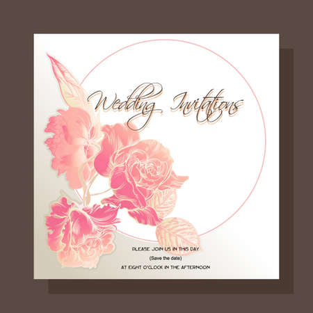 dding invitation, decorated with a  vintage image of Roses flowers