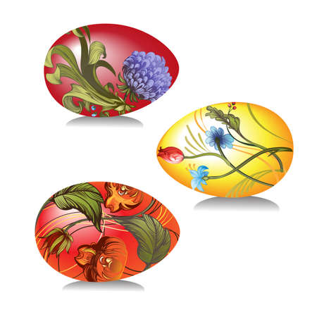 Vector image of Easter eggs decorated  with hand-painted floral ornaments