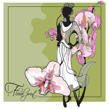 Abstract sketch of a model in floral  dresses with a orchid print