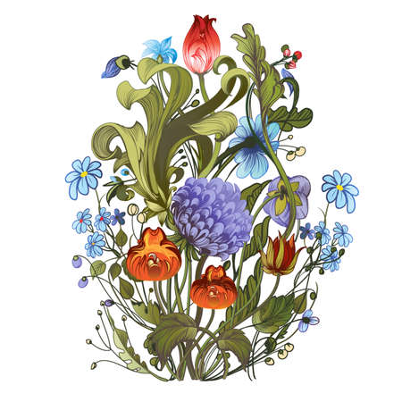Decorative hand-drawing a bright bouquet of garden flowers