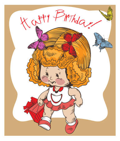 Vector image of a cute little girl who  brings a gift, on a kids vintage postcard
