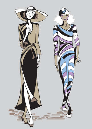 Ethno fashion models in sketch style.  Hand drawn vector illustration