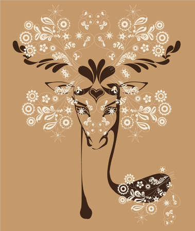 silhouette picture stylized deer, richly  decorated with floral pattern Illustration