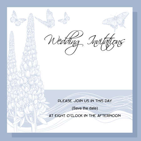 wedding invitation, decorated with  vintage picture of lupine flowers and butterflies