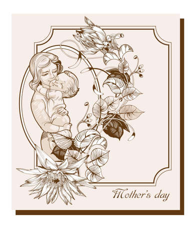 Vector greeting card dedicated to  Mothers Day, made in vintage style
