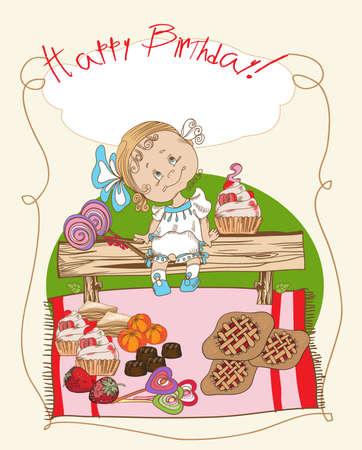 Vintage vector card. Congratulations on   a little girl birthday