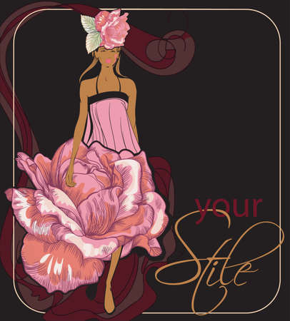 vector image of a model walking down the  runway in an exclusive dress, decorated with flowers  roses