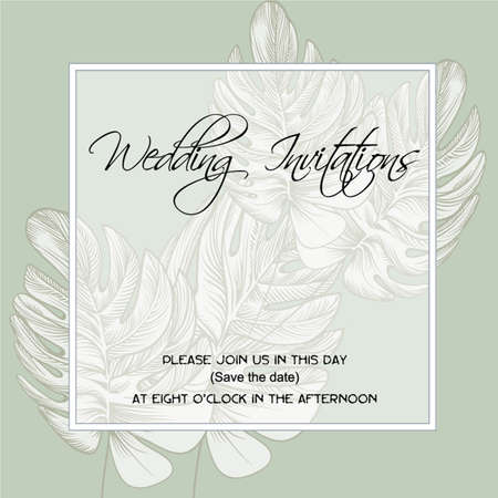 wedding invitation on the background of  vintage leaves acanthus, fern and oak