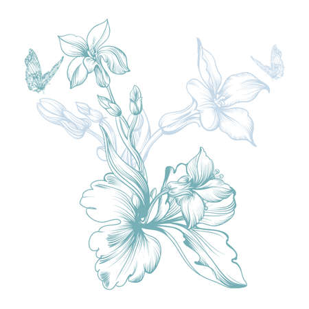 Vector image of a spring flower,  stylized monochrome manual Illustration