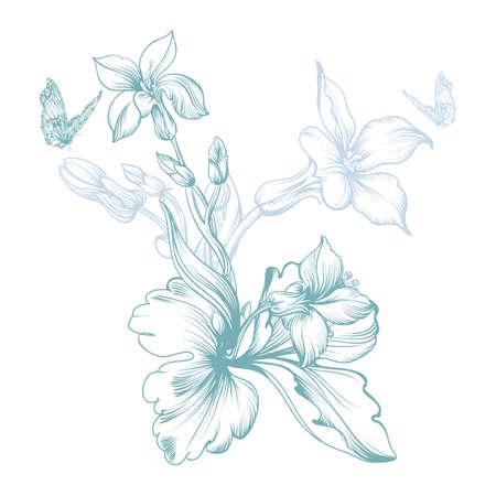 Vector Bild einer Frühlingsblume, stilisierten Schwarzweiß-Handbuch