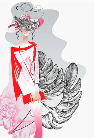 Young Woman with a bouquet and a hat  with a tail on the background of a rose Illustration