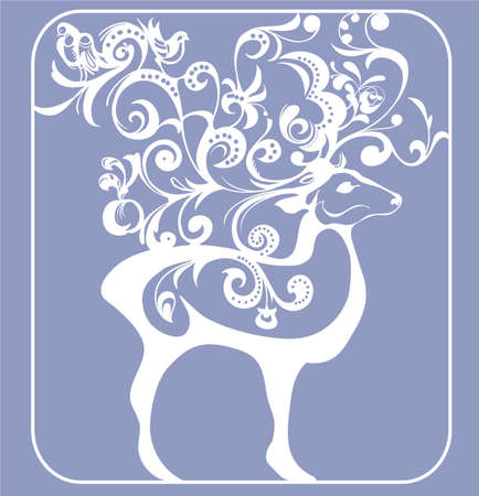 richly: silhouette picture stylized deer, richly  decorated with floral pattern Illustration