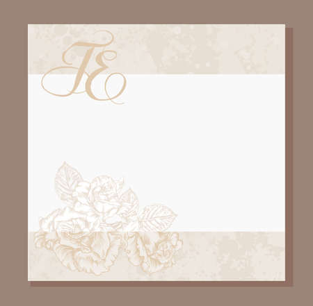 wedding invitation, decorated with a  vintage image of Roses flowers  and lace