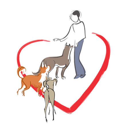 stray: Vector symbolic image of a girl - a  volunteer who feeds stray animals Illustration