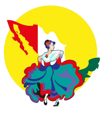 image of women in the Mexican national dress, dancing on  the Mexican dance background maps of Mexico Illustration