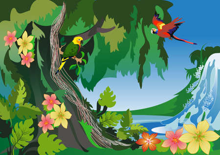 image of the exotic shores of the ocean and the wild  jungle Illustration