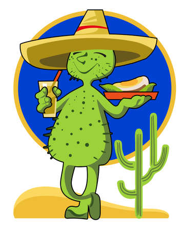 The comic image of a cactus in sombrero with a glass of tequila  in his hand