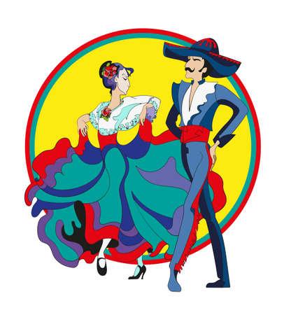 mexican costumes: pareja mexicana. La pareja mexicana, hombre y mujer, bailan el baile latinoamericano en trajes tradicionales