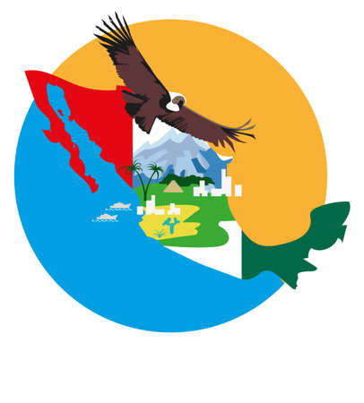 image of a bird condor on the background of  the map  and  elements of the Mexican landscape