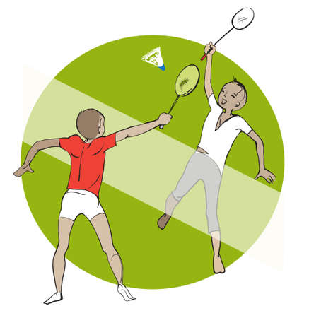Kids playing badminton outdoor on the grass Illustration