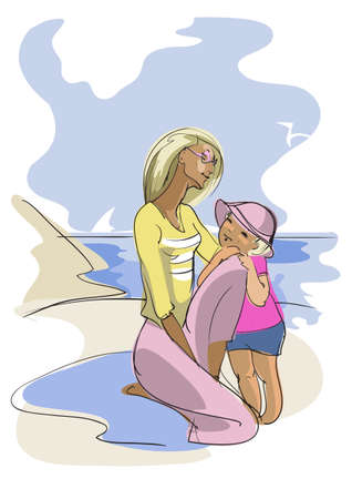 deserted: drawing of a young woman and her child, who are on a  deserted beach near the ocean
