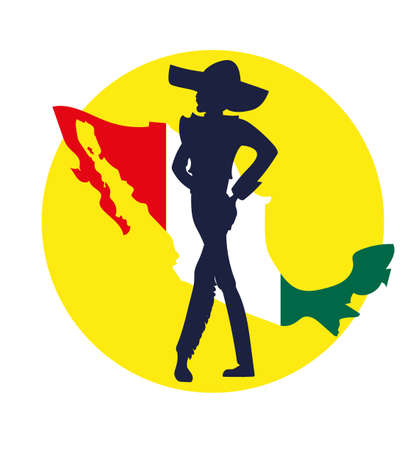 image of a silhouette  dancer latin dance on a background map of Mexico