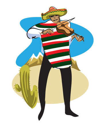 Mexican in a sombrero and poncho plays the violin