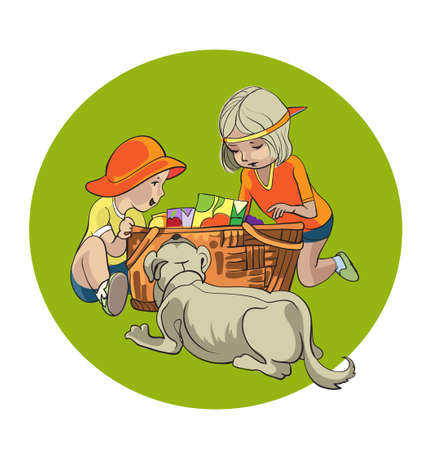 summer picnic: illustration of  style, cute kids on a summer  picnic