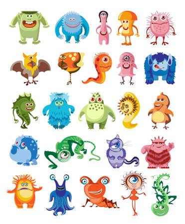 Cute monsters set, cartoon animation.