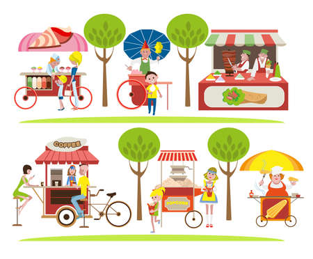 The sellers of fast food, coffee and ice cream stand near the kiosks. Illustration