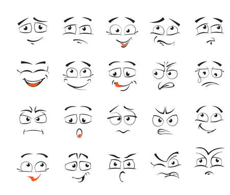 Facial expressions for female character illustration. Illustration