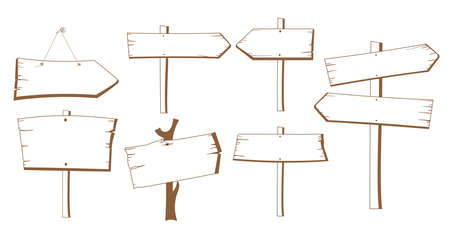 Contour image of a wooden street signs. Illustration