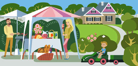 Lunch outdoors for a young family in their country house. Illustration