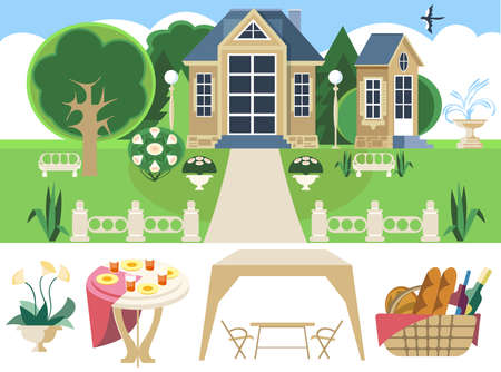 Flat image of a country house, garden and picnic items. Illustration