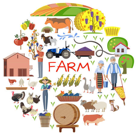 Farmer and farmland, the village with gardens, greenery, harvest and grain, hay, organic products. Illustration