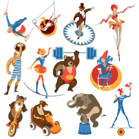 Set of isolated images of circus elements.